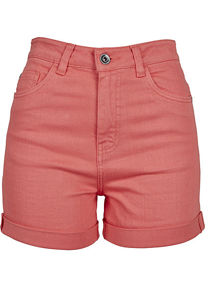 Seventyseven Lifestyle Damen High-Waist Shorts 5-Pockets coral pink denim