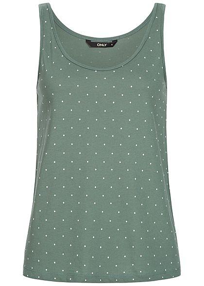 ONLY Damen Tank Top Punkte Muster balsam grün weiss - 77onlineshop d19c658345