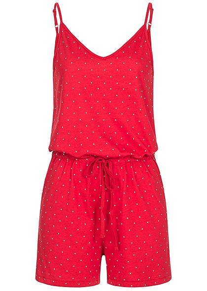 ONLY Damen Kurz Jumpsuit Punkte Muster goji berry rot weiss