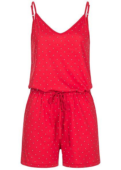 8c34c559cc3b42 ONLY Damen Kurz Jumpsuit Punkte Muster goji berry rot weiss - 77onlineshop