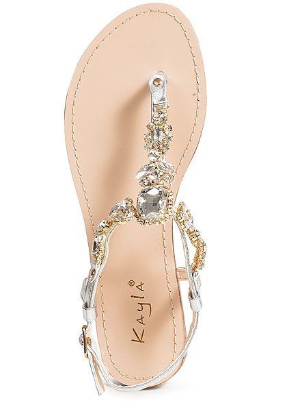 6a24b80f438fde Seventyseven Lifestyle Schuh Damen Sandale Zehensteg Deko Steine silber -  77onlineshop