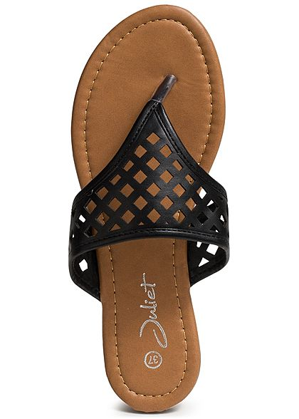 separation shoes 486ce 13d5f Seventyseven Lifestyle Schuh Damen Sandalette Zehensteg Quadrate schwarz