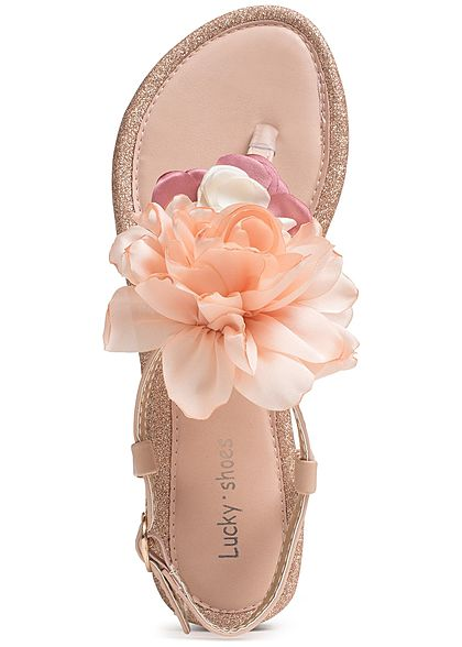 b42505b6cf021e Seventyseven Lifestyle Schuh Damen Sandalette Deko Blume Glitzer beige rosa  orange - 77onlineshop