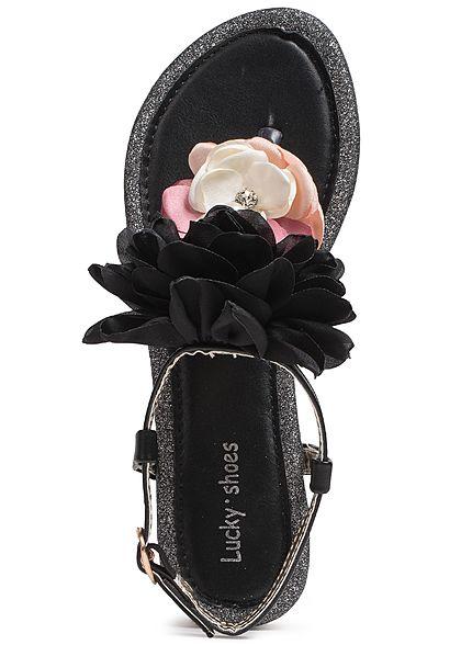 c50a6d151f0de0 Seventyseven Lifestyle Schuh Damen Sandalette Deko Blume Glitzer schwarz rosa  weiss - 77onlineshop