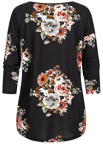 ONLY Damen NOOS 4/5 Arm Shirt Blumen Muster schwarz rosa grau