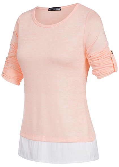 Styleboom Fashion Damen Turn- Up Longsleeve 2in1 Optik rosa weiss