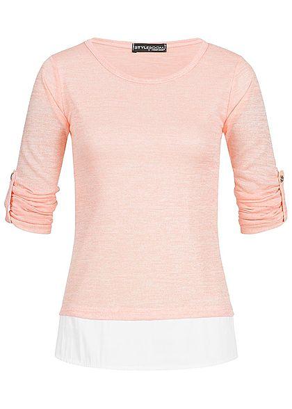 Styleboom Fashion Damen Turn- Up Longsleeve 2in1 Optik rosa weiss