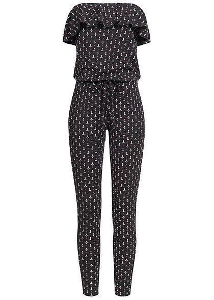 Styleboom Fashion Damen Bandeau Jumpsuit Anker Herz Muster Frill schwarz  weiss rot - 77onlineshop 224b1dddc1