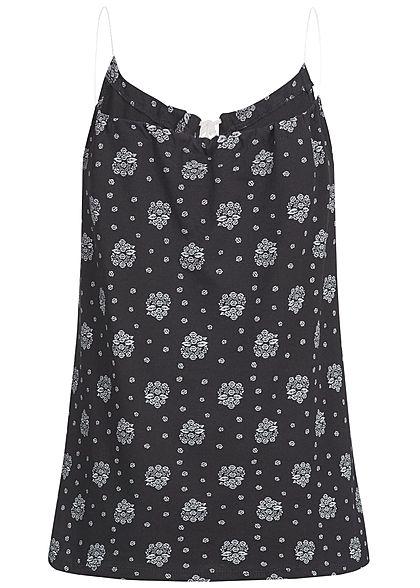 Styleboom Fashion Damen Top Ornament Muster schwarz weiss