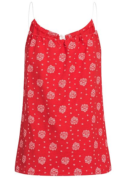Styleboom Fashion Damen Top Ornament Muster rot weiss