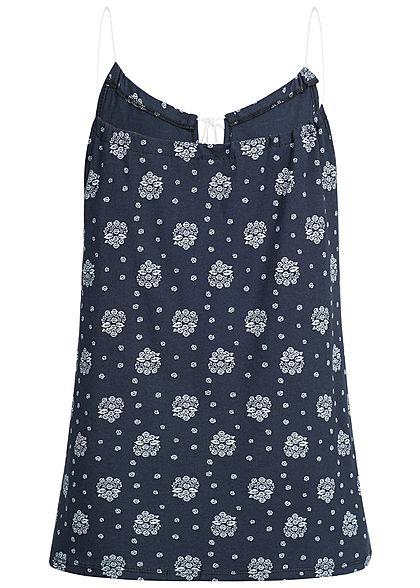 Styleboom Fashion Damen Top Ornament Muster navy blau weiss
