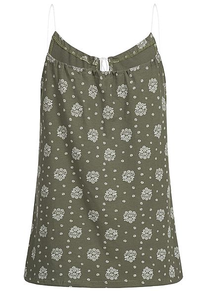 Styleboom Fashion Damen Top Ornament Muster military grün weiss