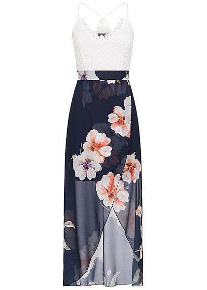 5780d2ce5a2f Styleboom Fashion Damen Kleid Brustpads Spitze Blumen Print 2-lagig navy  blau weiss - 77onlineshop