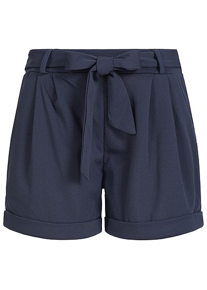 Styleboom Fashion Damen Paper-Bag Shorts 2 Taschen Bindegürtel navy blau