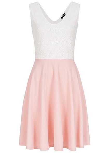 san francisco c0130 897ca Styleboom Fashion Damen Kleid Spitze weiss rosa