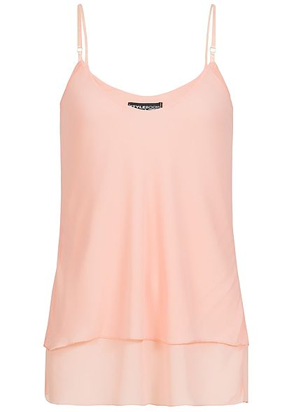 Styleboom Fashion Damen Chiffon Top 2-lagig rosa