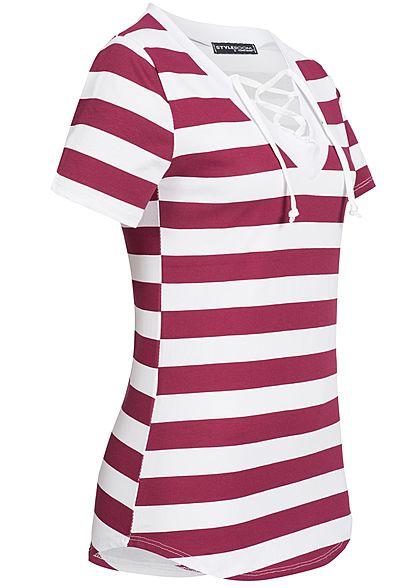 23fde9bd0d9b8f Styleboom Fashion Damen T-Shirt Schnürausschnitt Streifen weiss bordeaux rot  - 77onlineshop