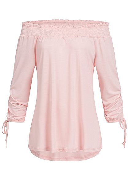 Styleboom Fashion Damen Carmen Off-Shoulder Shirt rosa