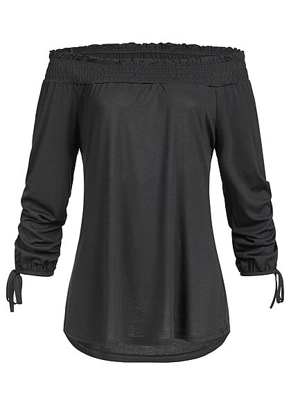 Styleboom Fashion Damen Carmen Off-Shoulder Shirt schwarz