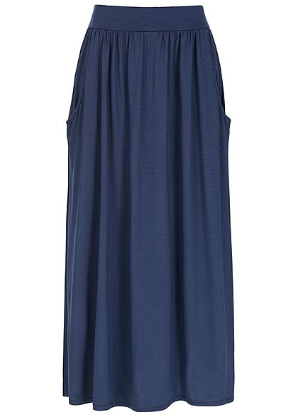Styleboom Fashion Damen Longform Rock Einschubtaschen navy blau