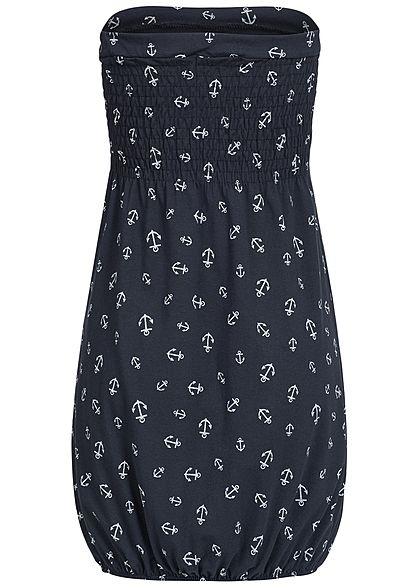 Styleboom Fashion Damen Mini Bandeau Kleid Anker Muster navy blau weiss