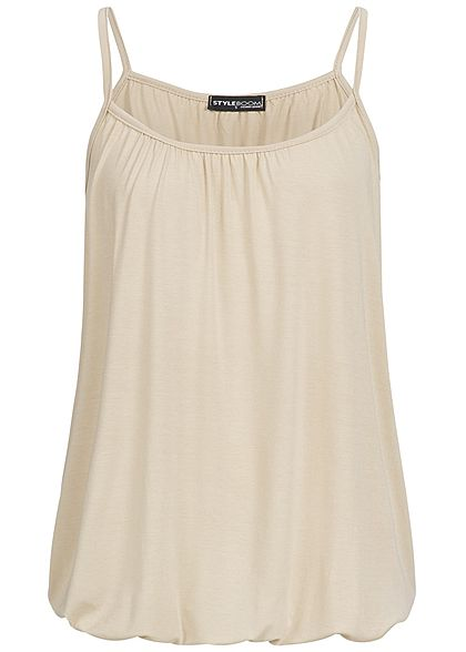 Styleboom Fashion Damen Basic Träger-Top beige