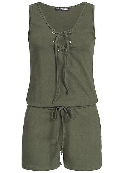 Styleboom Fashion Damen Kurz Jumpsuit Schnürausschnitt 2 Taschen dunkel  military grün - 77onlineshop 0892efce1e