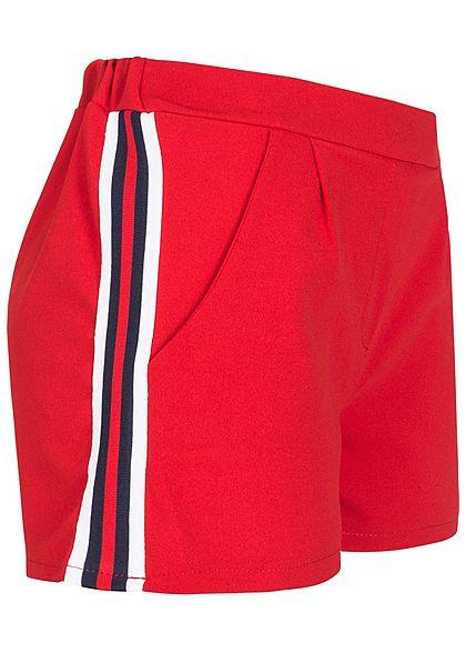 f11d5be33ca42d Styleboom Fashion Damen Shorts Streifen seitlich 2 Taschen rot weiss blau -  77onlineshop