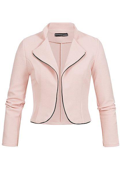 Styleboom Fashion Damen Bolero Ripp Muster Deko Rv Rosa 77onlineshop