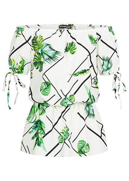 Styleboom Fashion Damen Off-Shoulder Top Tropical Print weiss grün