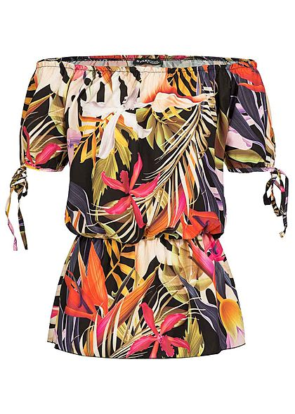 Styleboom Fashion Damen Off-Shoulder Top Tropical Print schwarz pink rosa
