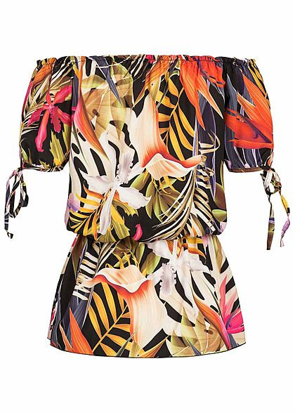 Styleboom Fashion Damen Off-Shoulder Top Tropical Print schwarz pink rosa
