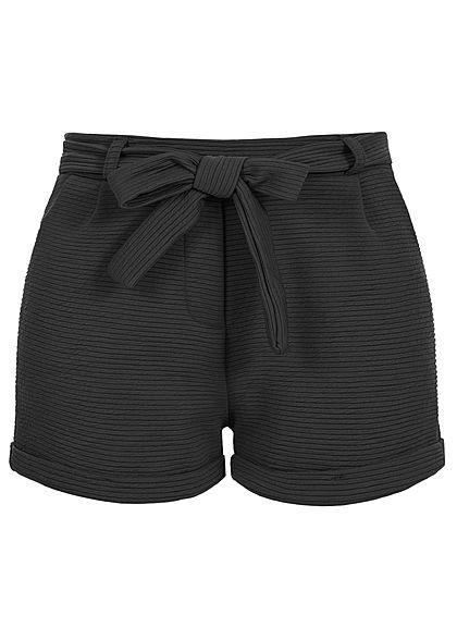 26c9832e93b4c9 Styleboom Fashion Damen Paper-Bag Shorts inkl. Gürtel Ripp-Muster schwarz -  77onlineshop