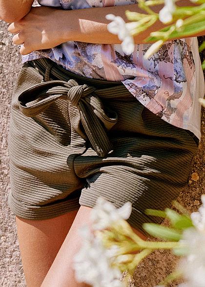 642b6f79b253b2 Styleboom Fashion Damen Paper-Bag Shorts inkl. Gürtel Ripp-Muster military  grün - 77onlineshop