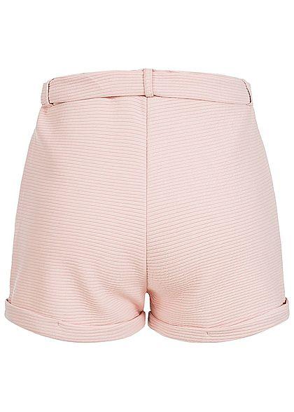 Styleboom Fashion Damen Paper-Bag Shorts inkl. Gürtel Ripp-Muster rosa
