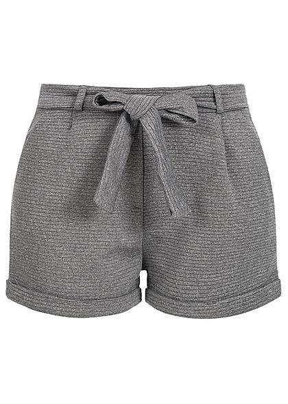 e1c161f251d6 Styleboom Fashion Damen Paper-Bag Shorts inkl. Gürtel Ripp-Muster dunkel  grau - 77onlineshop