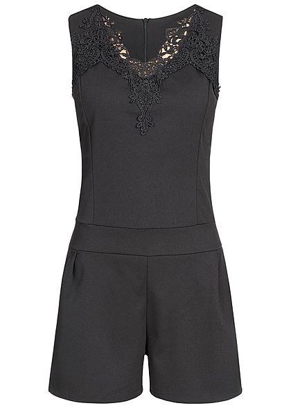 styleboom fashion damen kurz jumpsuit h kelbesatz zipper. Black Bedroom Furniture Sets. Home Design Ideas