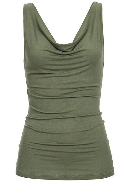 Styleboom Fashion Damen Wasserfall Top military grün