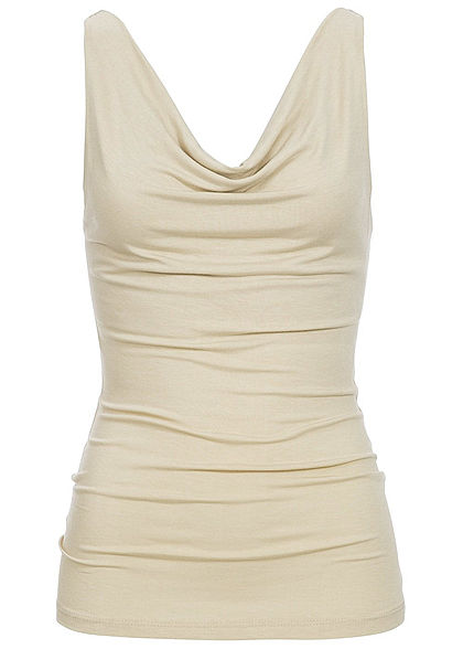 Styleboom Fashion Damen Wasserfall Top beige