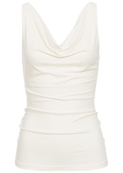 Styleboom Fashion Damen Wasserfall Top off weiss