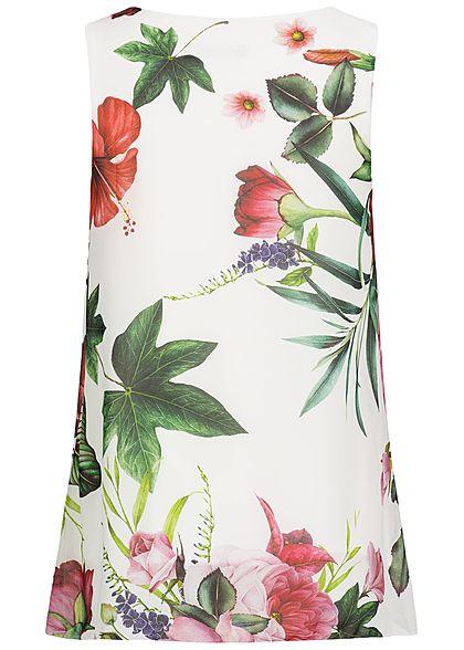 Styleboom Fashion Damen Chiffon Top Floraler Print 2-lagig weiss rosa grün