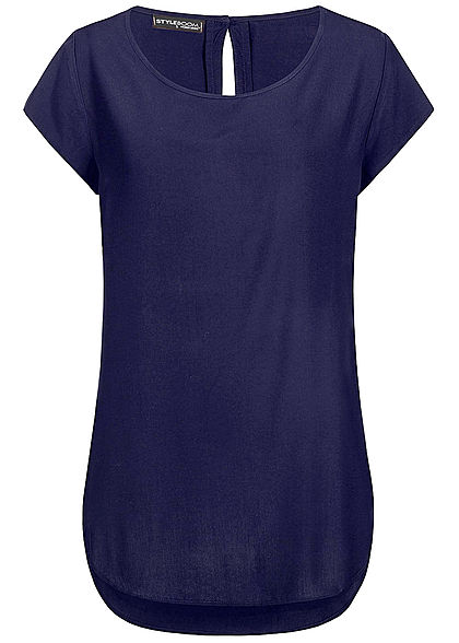 Styleboom Fashion Damen Basic Viskose Shirt navy blau