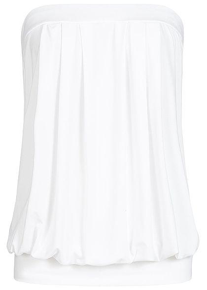 Styleboom Fashion Damen Bandeau Top mit Bündchen off weiss