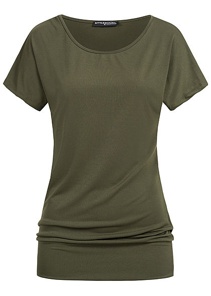Styleboom Fashion Damen T-Shirt breiter Bund military grün