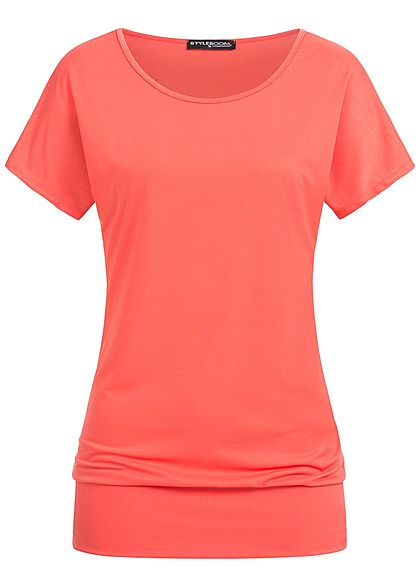 Styleboom Fashion Damen T-Shirt breiter Bund fragola rot