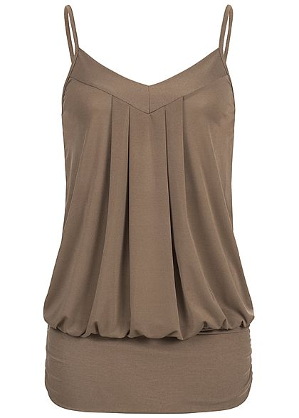 Styleboom Fashion Damen Spaghettiträger Top braun