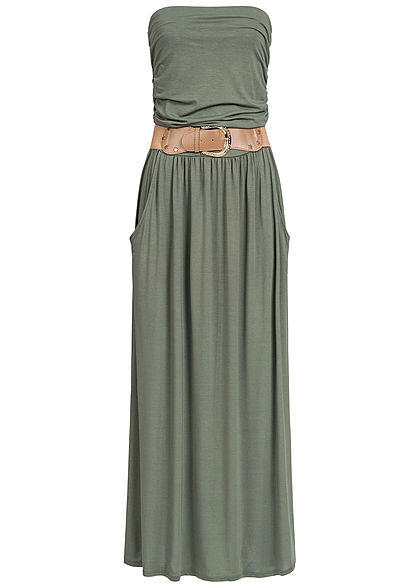 Styleboom Fashion Damen Longform Bandeau Kleid 2-Pockets Gürtel military grün - Art.-Nr.: 19056379
