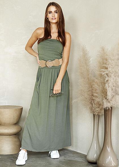 Styleboom Fashion Damen Longform Bandeau Kleid 2-Pockets Gürtel military grün
