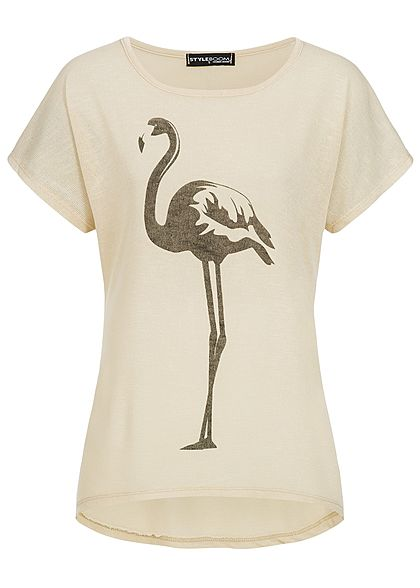 Styleboom Fashion Damen T-Shirt Flamingo Print beige schwarz