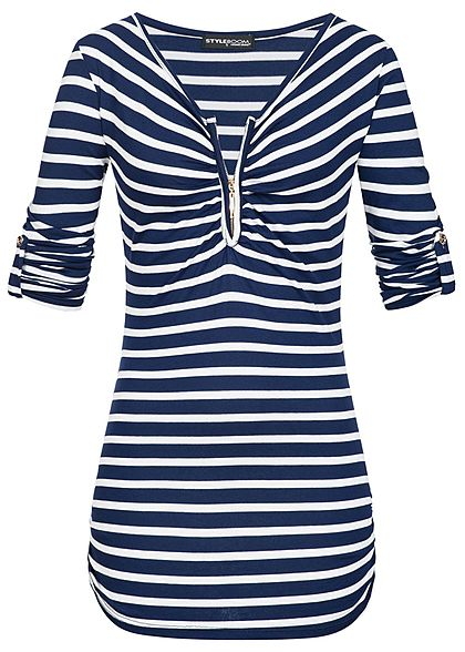 Styleboom Fashion Damen Turn-Up Shirt Zipper Streifen Muster navy blau weiss